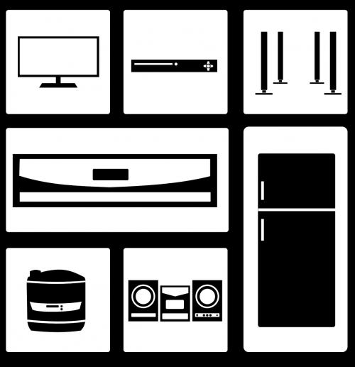 家電のイラスト(TV・冷蔵庫・スピーカー・ホームシアター・炊飯器等)