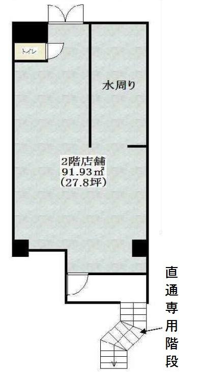2階店舗91.93㎡と記載された間取りイメージ図