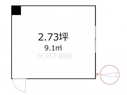 2.73坪の広さの事務所の間取イメージ