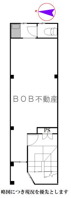 室内、階段、トイレ、給湯室が描写されたイメージ間取り図